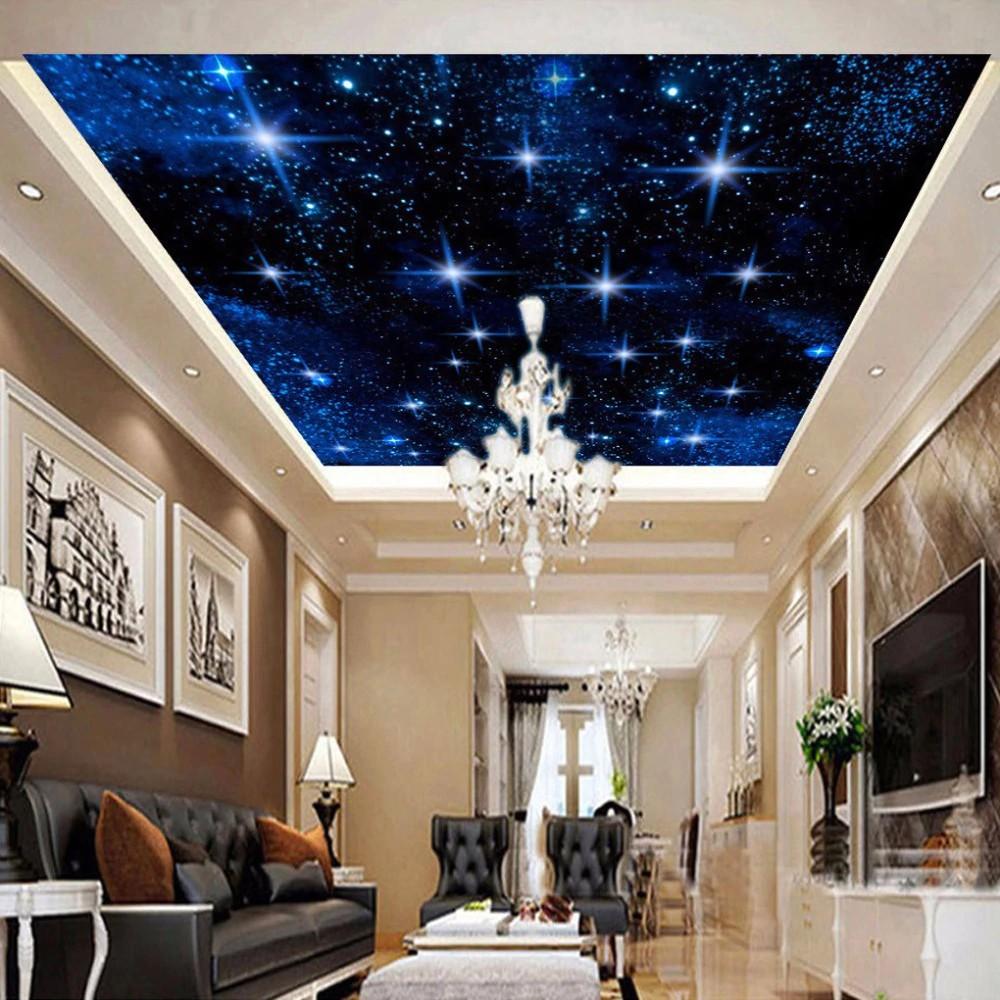 Kustom 3D Dinding Mural Wallpaper Untuk Kamar Anak Anak Kamar Tidur Bintang Langit Malam