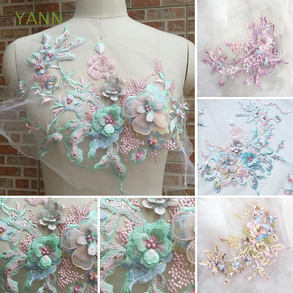 Ornamen/Hiasan Patch Bunga Artifisial Hias Manik-manik Mutiara Imitasi  untuk Gaun Pernikahan Wanita