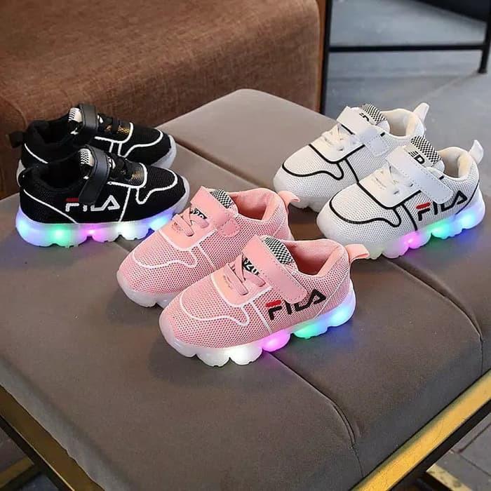 Bisa Cod Sepatu Sneaker Anak Laki Laki Perempuan Fila Lampu Led