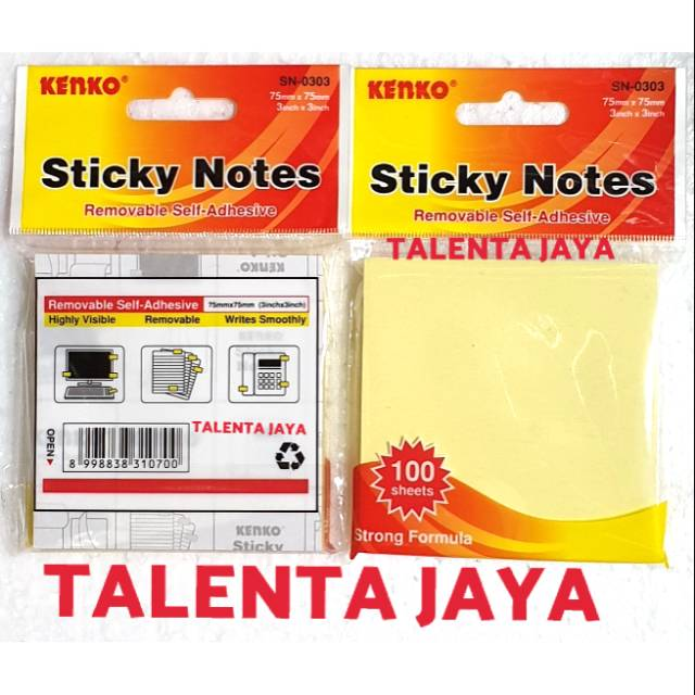"""Square Memo Pads 12 Pads of 100-3/""""x3/"""" Yellow Sticky Notes 75mm x 75mm."""