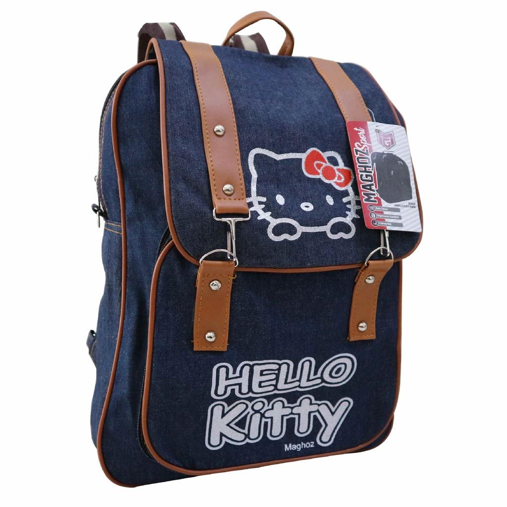 Tas Ransel Cewek Bahan Denim Distro Jeans Gambar Hello Kitty Backpack Lucu  Wanita Gaul Gaya HK  4a187253c8