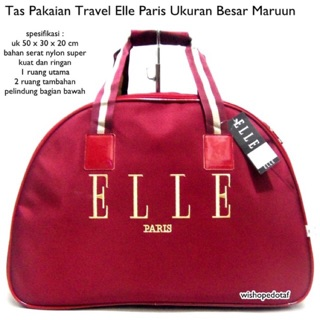 TAS TRAVEL ELLE MAROON TRAVEL BAG TAS