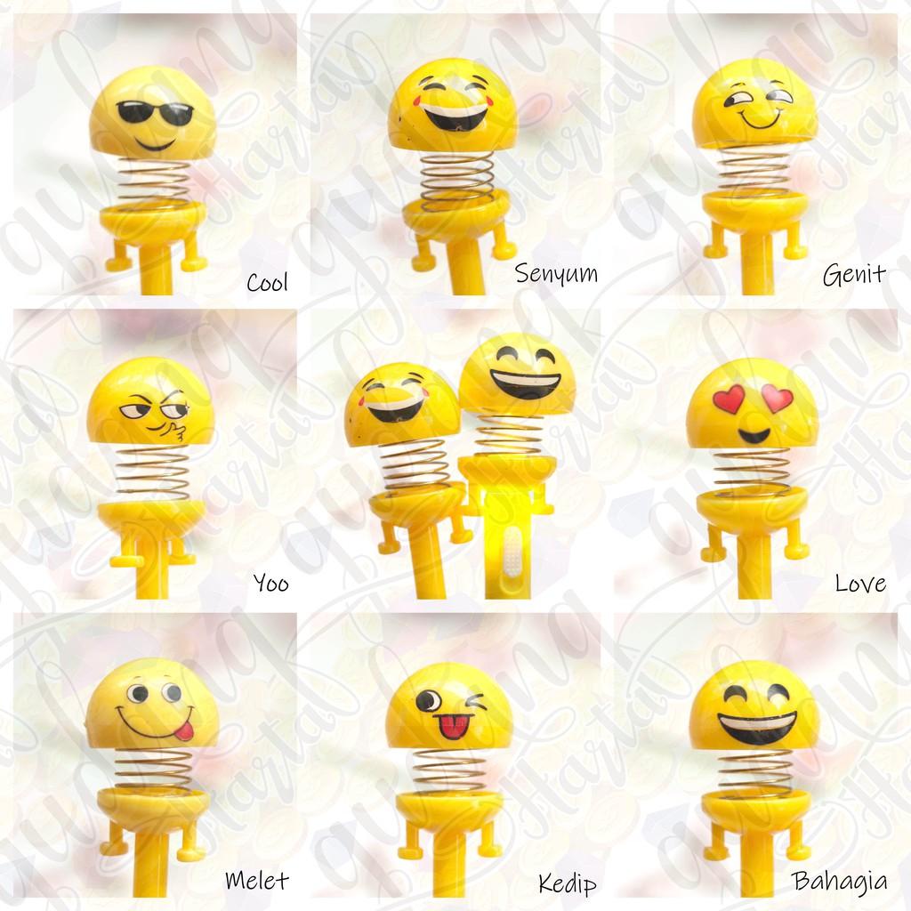 Pulpen Gel Bouncing Emoji Goyang Kepala Emoticon Lucu Pena Unik GH