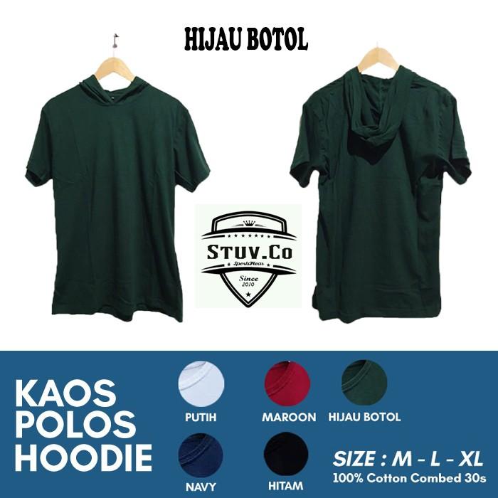 Kaos Hoodie Polos Cotton Combed 30s Size M L Xl Pendek Warna Hitam Katun Shopee Indonesia