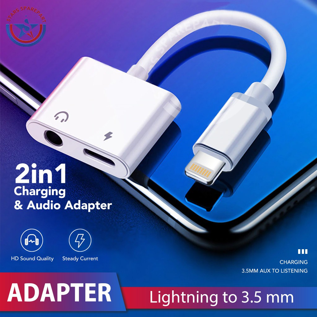 [Bayar Di Tempat]Double Jack Audio Adapter Charge Call Data Transfer For iOS11 For iPhone 7/8/X | Shopee Indonesia