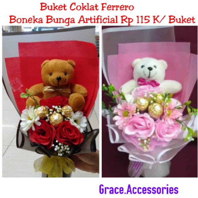 Buket Boneka Coklat Bunga Mawar Artificial Valentin Valentine Shopee Indonesia