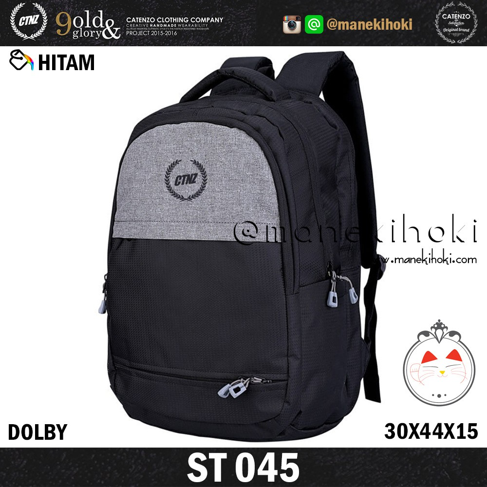 Tas Ransel Laptop Pria Catenzo Original Distro Branded Backpack Gudang Fashion Keren Dolby Kombinasi Black Casual Rain Cover St 045 Shopee Indonesia