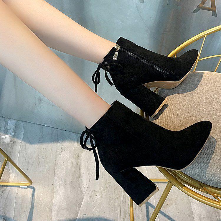 Sepatu Boots Wanita High Heels Tebal Gaya Korea Untuk Musim Gugur