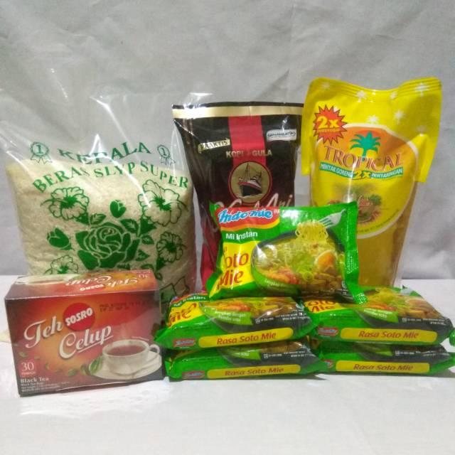 Paket Sembako Murah 4 - Beras, Minyak, Kopi, Teh, Mie