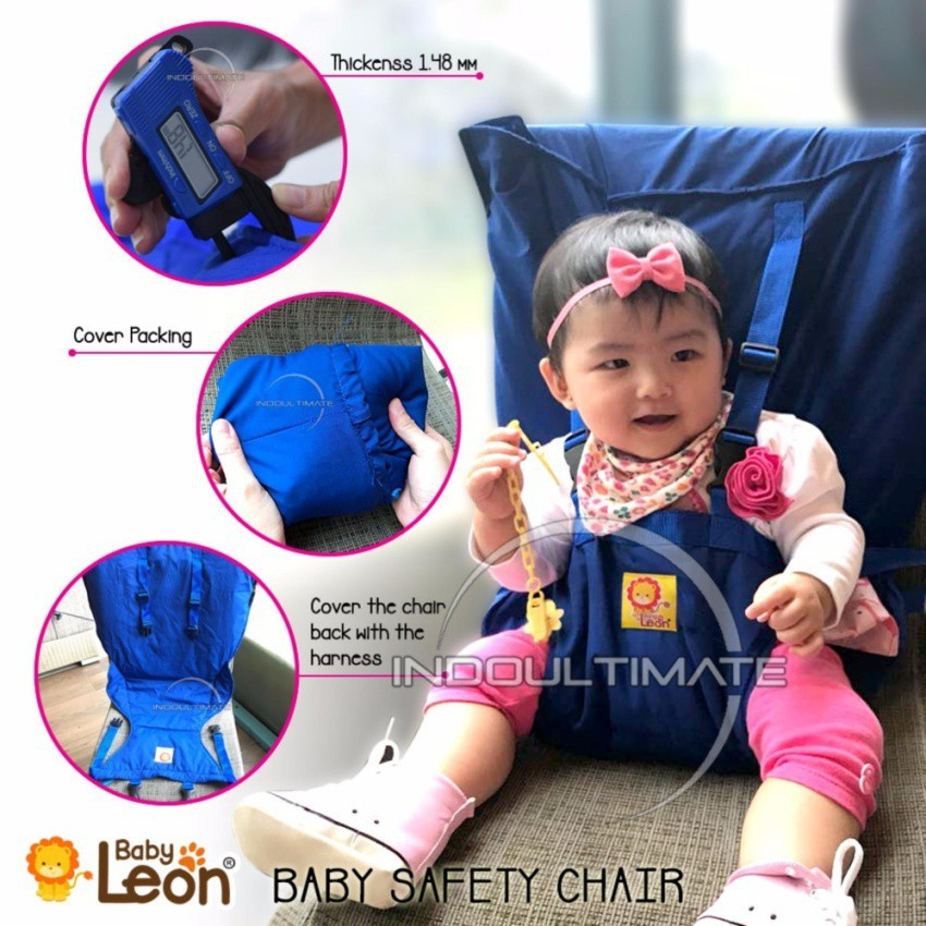 Pengaman Duduk Bayi Universal Kursi BABY LEON /Portable Baby safety chair cover sack n seat BLUE | Shopee Indonesia