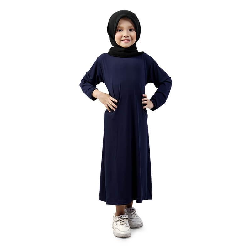 BAJUYULI - Baju Muslim Gamis Anak Perempuan Murah Polos Basic Jersey - Navy