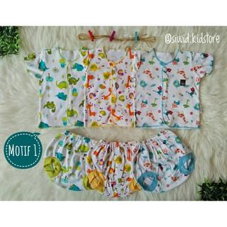 [0-8 bulan] Setelan motif baju bayi baru lahir lengan pendek Little Q laki-laki perempuan | Shopee Indonesia