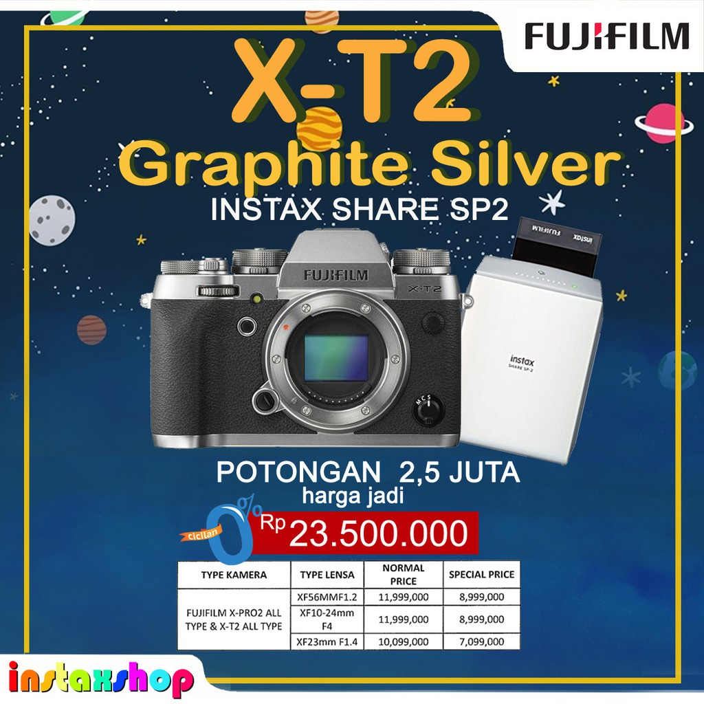 Fujifilm Xt20 Black 16 50mm Shopee Indonesia Silver Body Only Hitam
