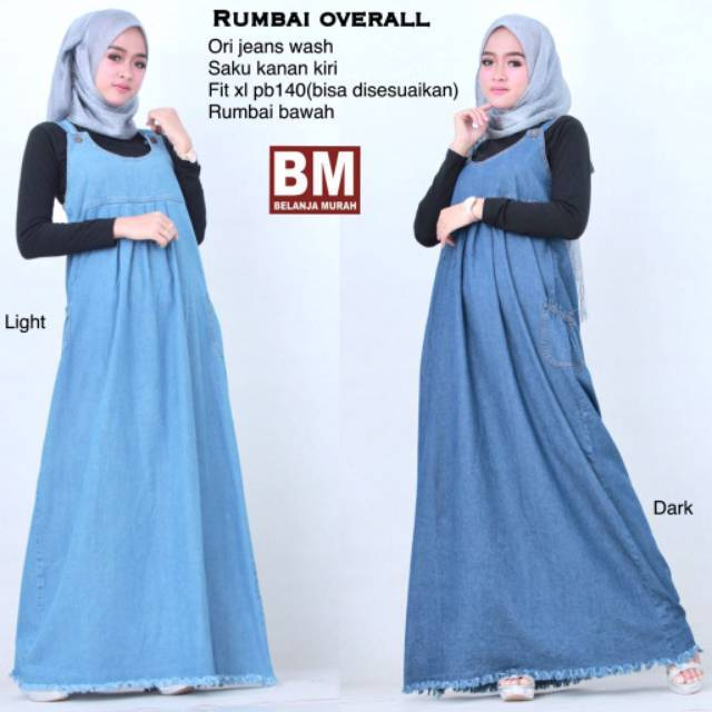 MR - Adelle Overall bhn jeans wash kombinasi songket tenun fit to XL   Shopee Indonesia