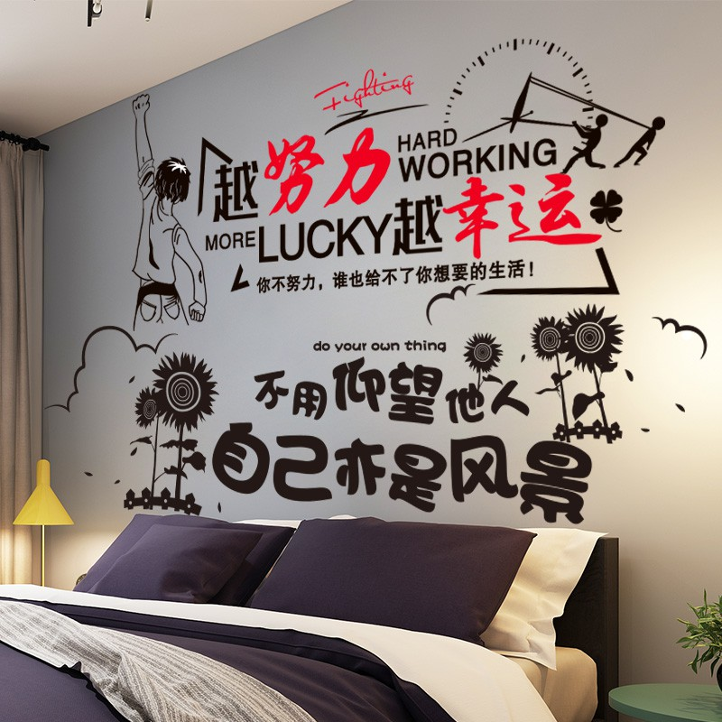 Stiker Dinding Kamar Tidur Latar Belakang Tata Letak Dinding Stiker Hiasan Dinding Anak Laki Laki Kepribadian Inspirasional Men Shopee Indonesia