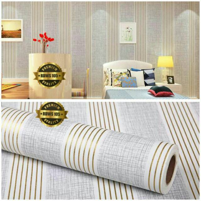 Wallpaper sticker dinding ruangan tamu kamar termurah motif garis gold abu abu putih minimalis | Shopee Indonesia