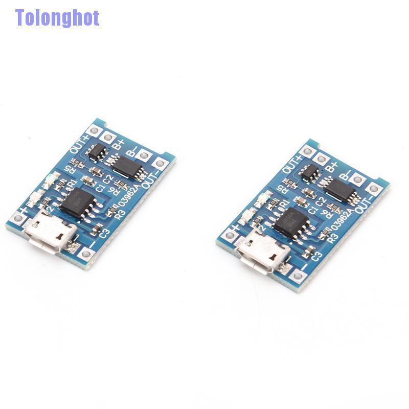 Tolonghot 2pcs Tp4056 Modul Board Proteksi Charger Baterai Lithium 18650 Usb 5v 1a