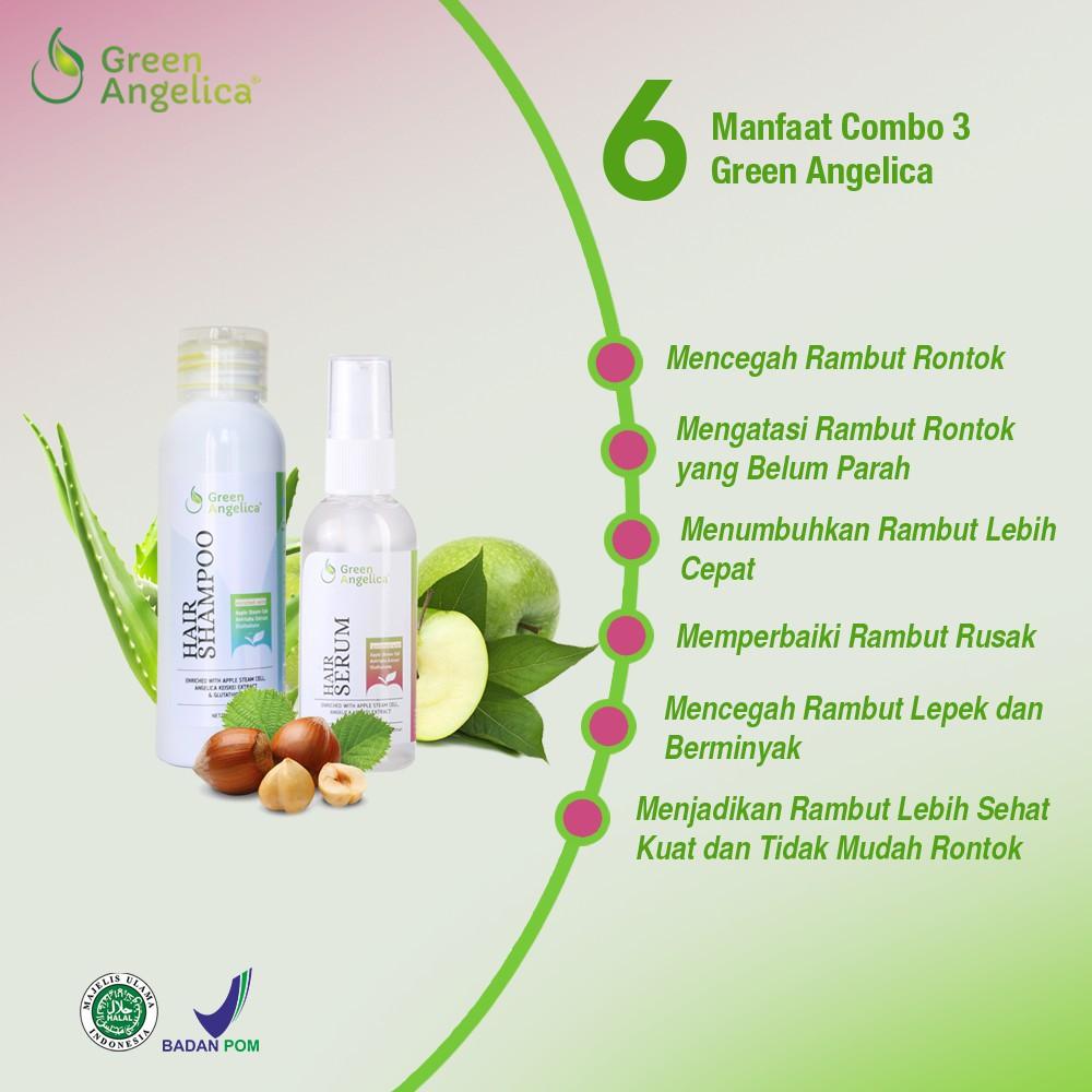 Paket Combo 3 Mengatasi Rambut Rontok Ketombe Lepek Hair Serum Shampo Green  Angelica  082908696c