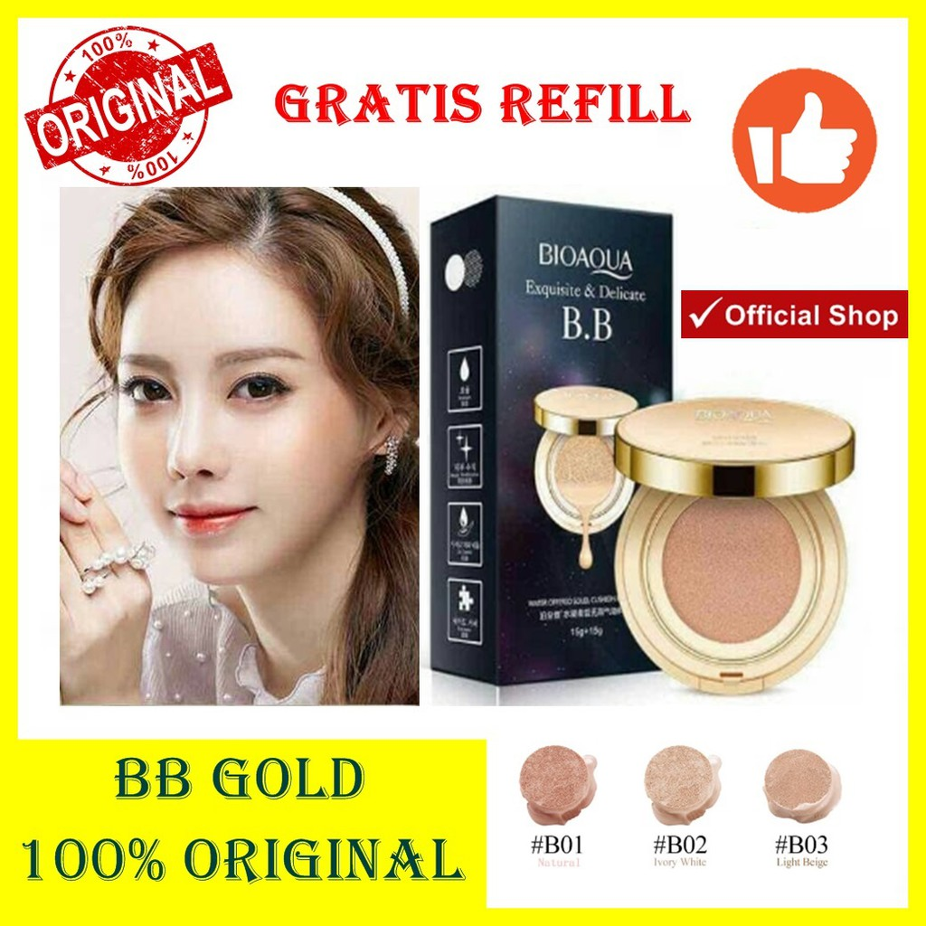 Bioaqua Bb Gold 2 In 1 Refill 100 Original Cushion Natural 01 Exquisite Delicate Plus Shopee Indonesia