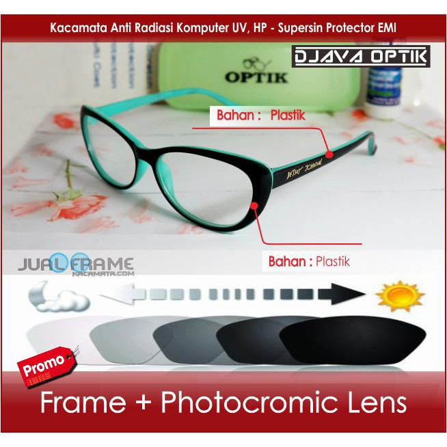 Kacamata Pria 6001Frame Kacamata Minus + Lensa Photogrey Photocromic Baca -  Kacamata Hitam Wanita  0fe233de0f