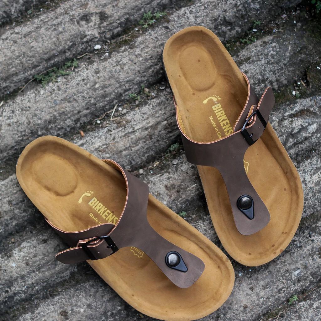 Sandal Birkenstock Pria Gesper 2 Belakang Coklat Shopee Indonesia Kulit Jepit Bandung