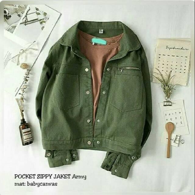 Jaket wanita termurah pocket zippy army white  f9933a9f71