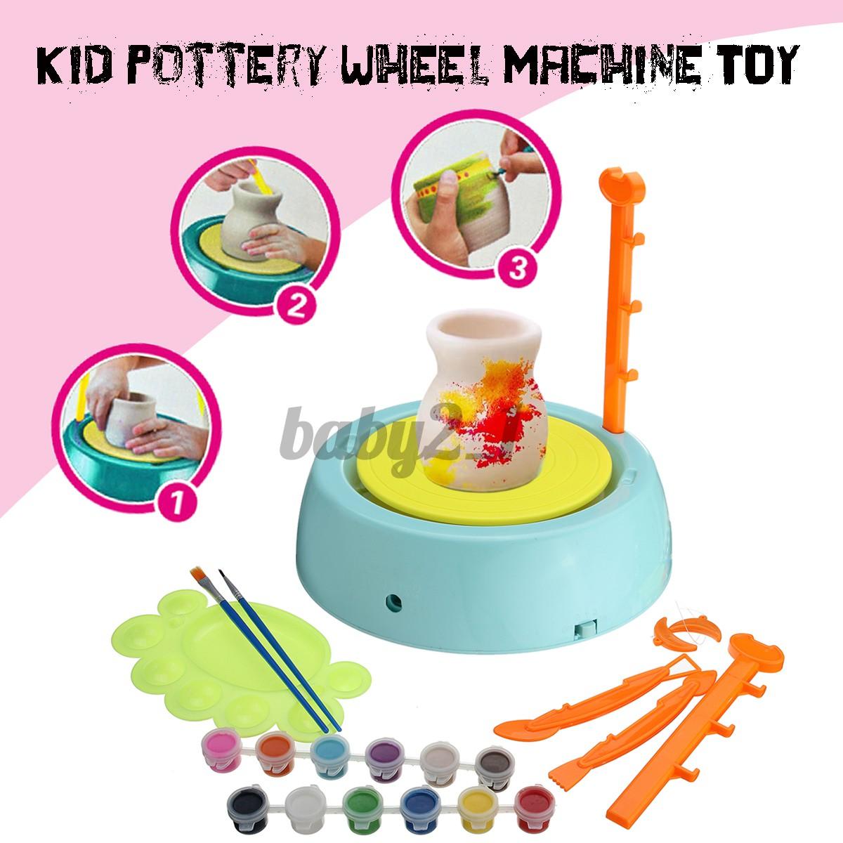 Electric Pottery Wheel Ceramic Machine Kids Diy Ceramic Art Tool Clay Making Toy Shopee Indonesia