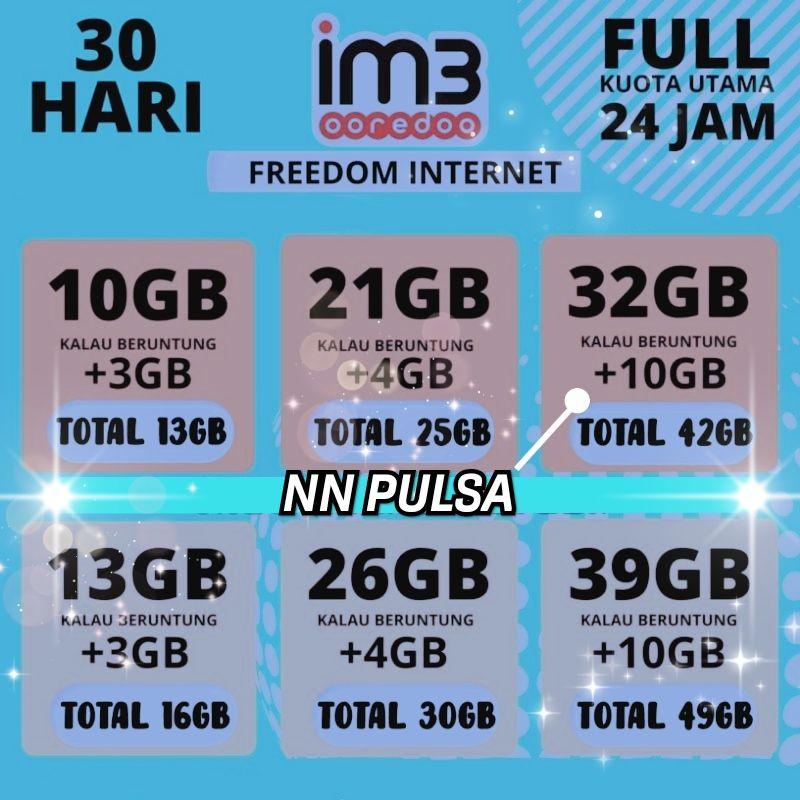 GIFT INDOSAT FREEDOM INTERNET 10GB || 21GB || 32GB