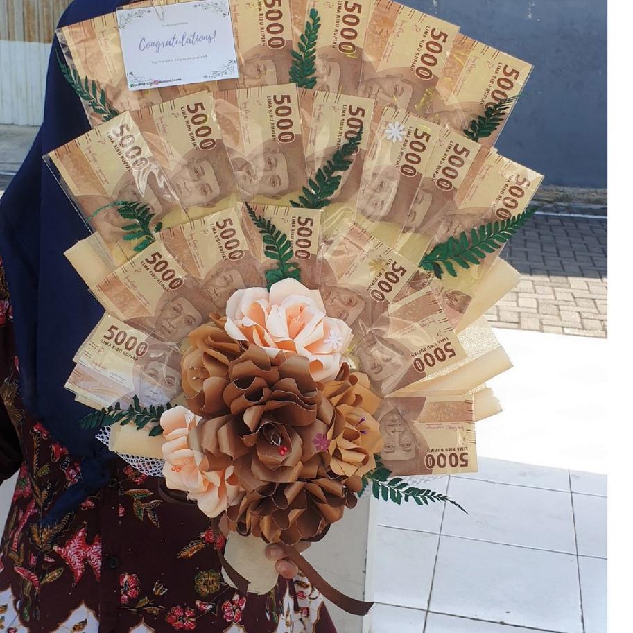 Super deal .. Buket Uang 100.000 Asli / Buket Bunga Kertas Uang Asli / Money Bouquet