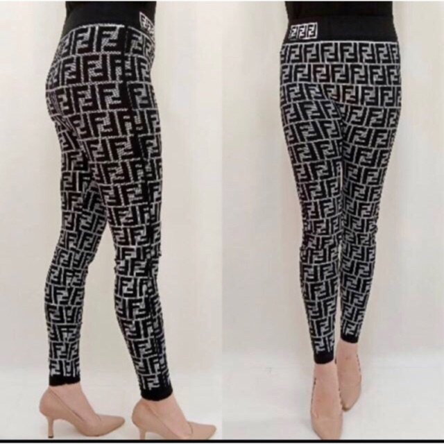 Lb19 36 Celana Legging Fendi Full Legging Nyaman Legging Melar Import Legging Print Bordir Shopee Indonesia
