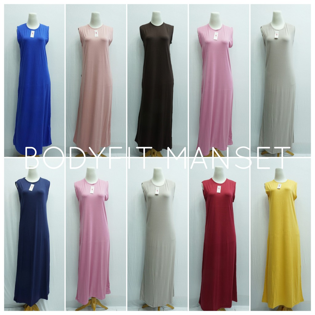 Gamis Lekbong Polos All Size Bodyfit