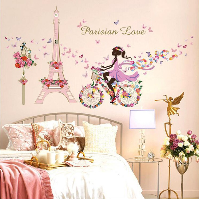 Removable Girl Cycling Decals Vinyl Art Mural Wall Sticker Kids Girl Room Decor | Shopee Indonesia