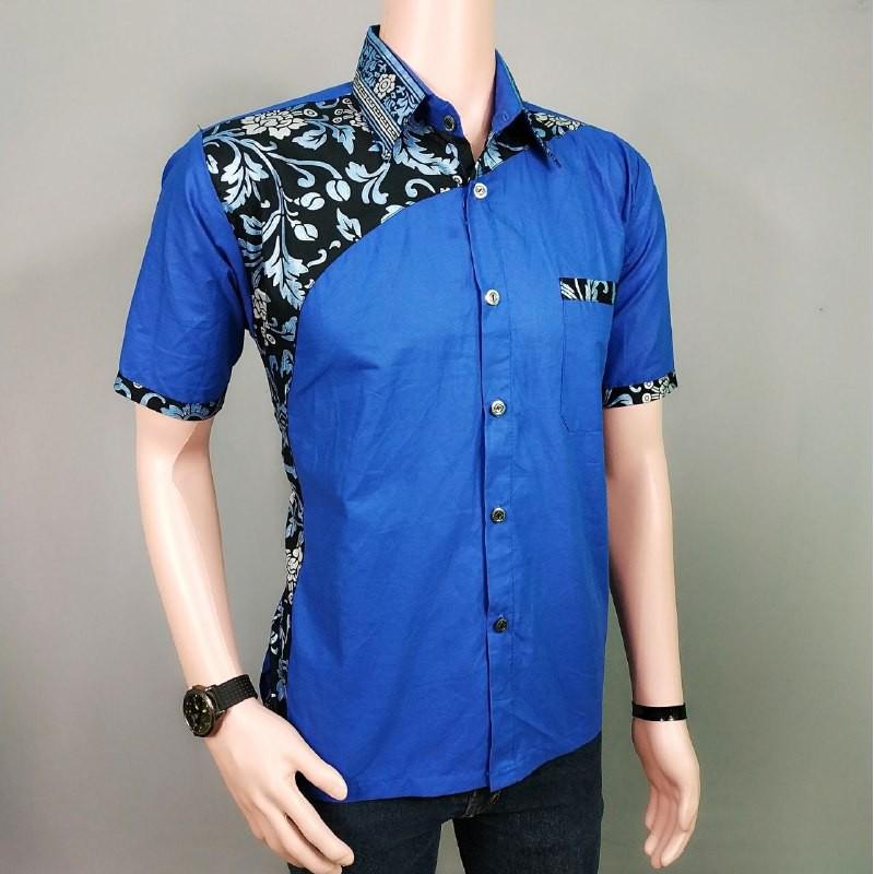 Hem Batik Pria Kombinasi Warna Biru Model Baju Batik Pria Keren