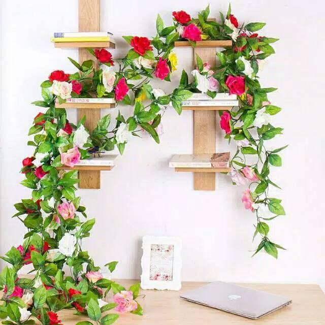 Daun rambat bunga mawar bunga palsu bunga plastik   01c10d9821