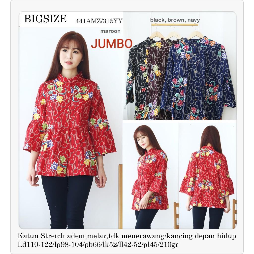 Blouse Batik Jumbo Bigsize Atasan Kantor 320wb Shopee Star Xxl Baju Indonesia