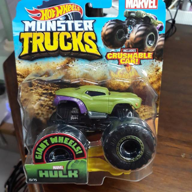 Hot Wheels Monster Trucks Hulk Diecast Mobil Off Road Monster Jam Marvel Shopee Indonesia