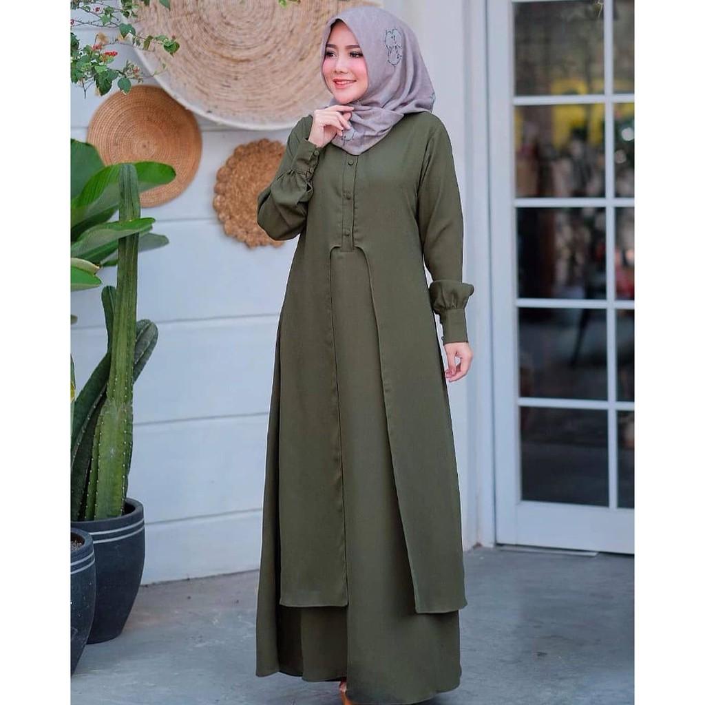 JANNAH DRESS WD Moscrepe Model Baju Gamis Wanita Muslimah Terbaru Dengan  Motif Trendy Kekinian