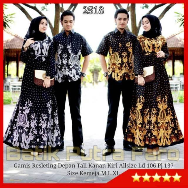 Batik Couple Gamis Sogan NotoArto IPNU IPPNU Kemeja Pria Lawasan Monochrome Kembar