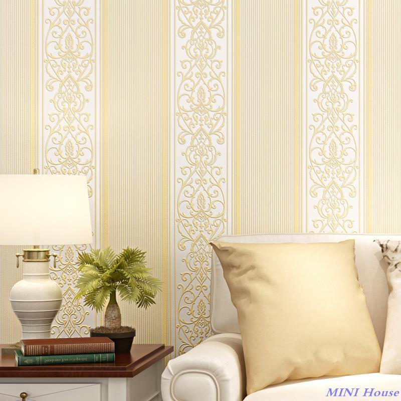 Wallpaper Kamar Modern Minimalis 3d Ruang Tamu Dinding Vertikal Bergaris Krem Shopee Indonesia