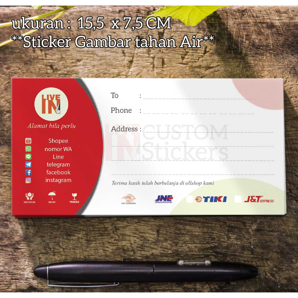 Sticker pengiriman online shop custom ukuran besar 75 x 155cm isi 100 logo nama olshop anda shopee indonesia