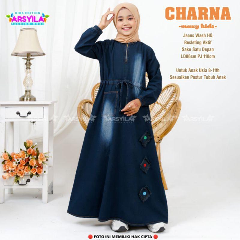 Charna Maxy Dress Kids Jeans Wash Gamis anak perempuan usia 8 9 10 11 dress by Arsyila