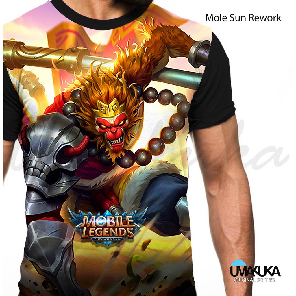 ML Sun Wokong Rework T Shirt Kaos Baju 3D Karakter Mobile Legends Full Print Umakuka Original Murah