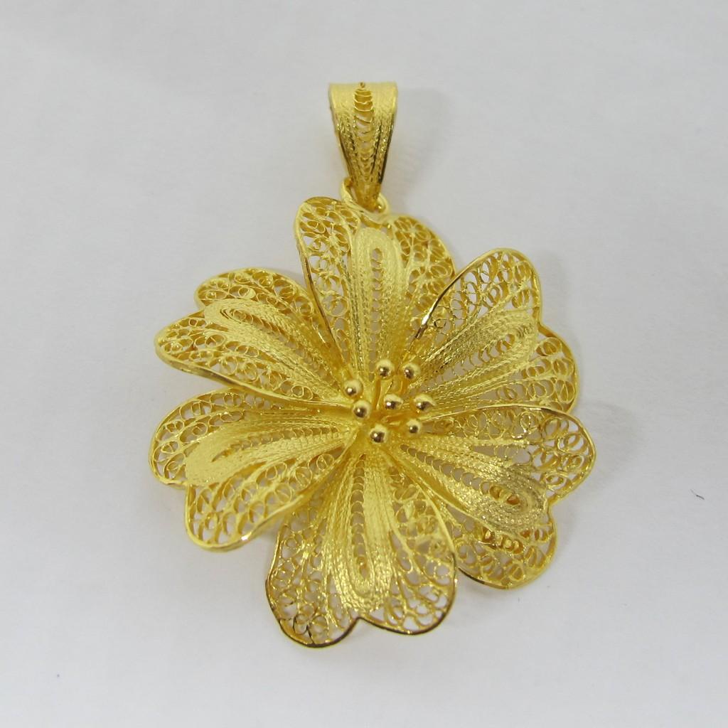 Liontin mainan gantungan buah kalung model bunga kendari d emas asli kadar 875