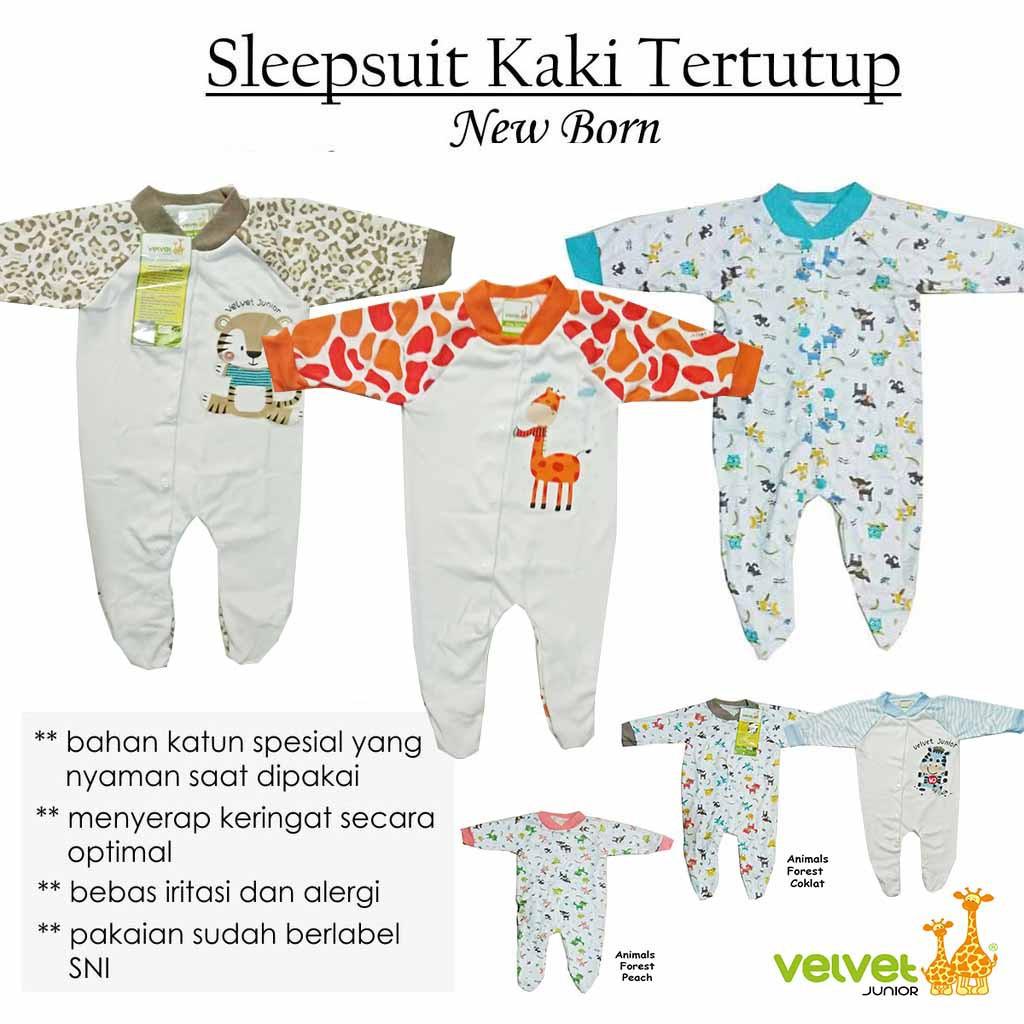 Baju Kodok Sleepsuit Jumpsuit Velvet Junior Newborn Baby Libby Buka Kaki 0 3m Pakaian Tidur Bayi Shopee Indonesia