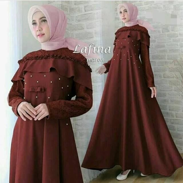 Lafina Dress Dress Lebaran Dress Wisuda Muslim Brokat Mutiara