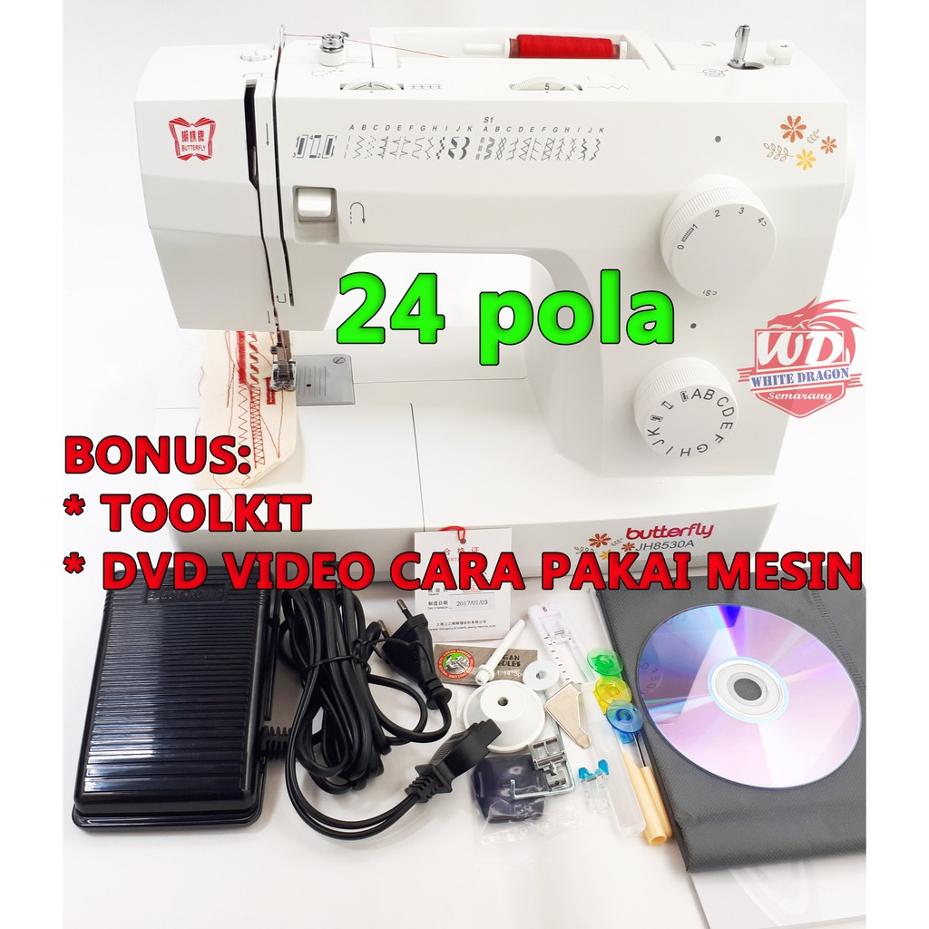 Mesin Jahit Portable Merk Butterfly Jh8530a Bisa 24 Pola Jahitan
