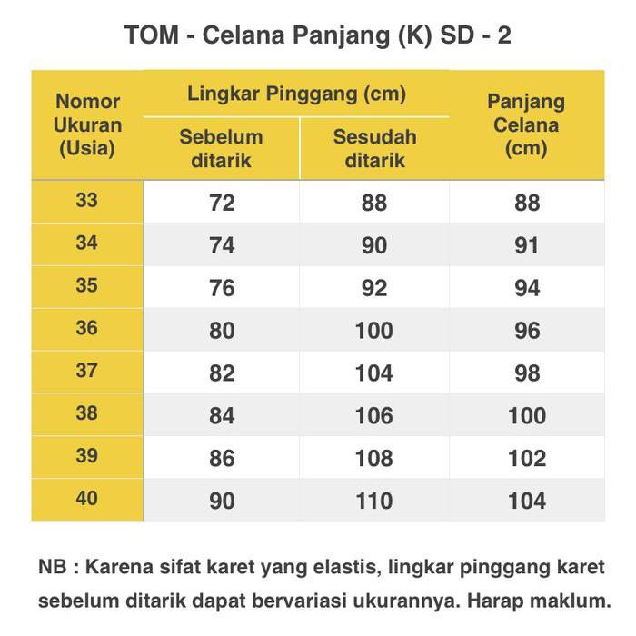 Seragam Tom Celana Sd Panjang Karet Hitam No 26 Kode 671 Shopee Indonesia