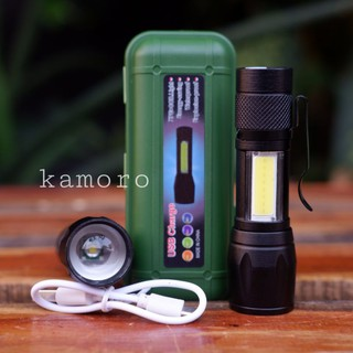 Paket Senter mini XPE+COB led Q5 zoom usb charger