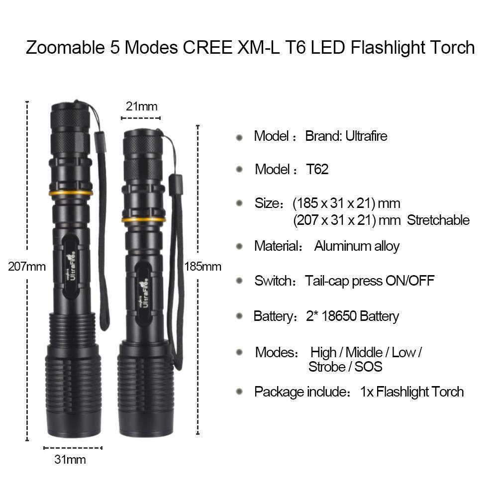 Senter Ultrafire T6 LED 8000LM Baterai 18650 Super Terang