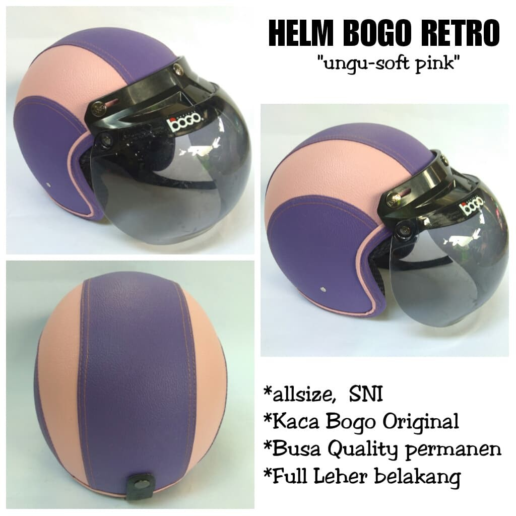 Helm Bogo Retro Full Kulit Ungu Soft Pink Termuath Kaca Bogo Original | Shopee Indonesia